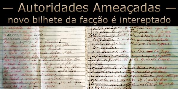 Carta contendo lista de autoridades a serem mortas pela facção PCC 1533.
