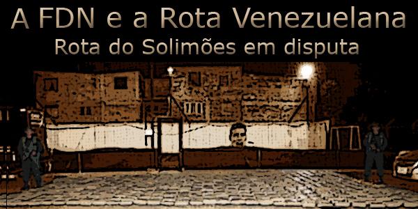 """Foto com uma tonelada de maconha apreendida em Bogotá e o texto """"A FDN e a Rota Venezuelana"""""""