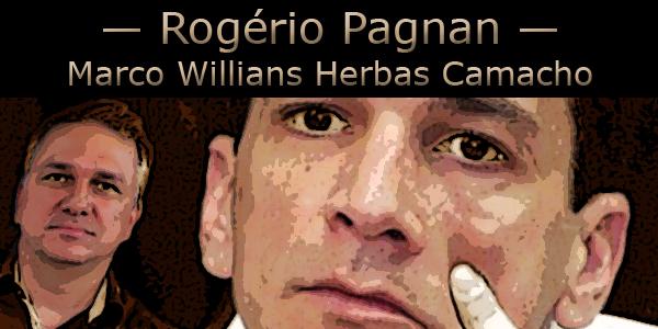 Arte com o rosto do repórter Rogério Pagnan e do criminoso Marcola do PCC