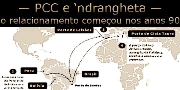 """""""Mapa Mundi"""" com o caminho percorrido pelas drogas da América para a Europa sob o texto """"PCC e 'ndrangheta, o relacionamento começou nos anos 90""""."""