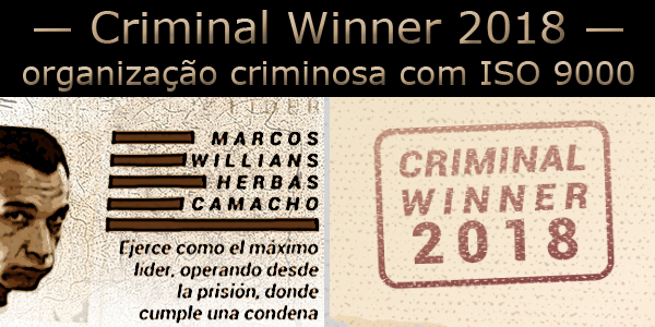 Foto de Marcola e um breve perfil e o carimbo de Criminal Winner 2018