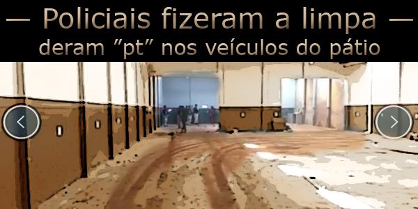 """foto do pátio vazio de veículos apreendidos pela polícia, acima o texto: Policiais fizeram a limpa e deram """"pt"""" nos veículos do pátio."""