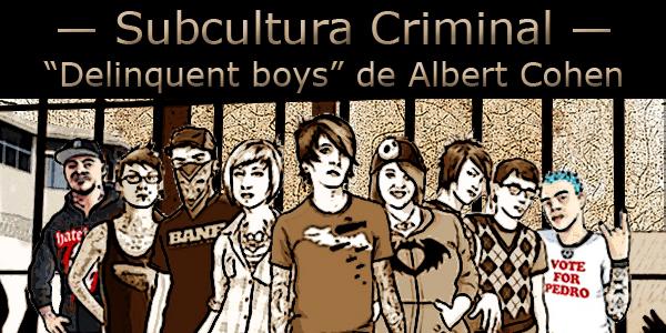 """Arte com vários garotos e garotas de várias """"tribos"""" tendo ao fundo a estilização de um presídio e o texto """"Subcultura criminal, Delinquent Boys de Albert Cohen""""."""