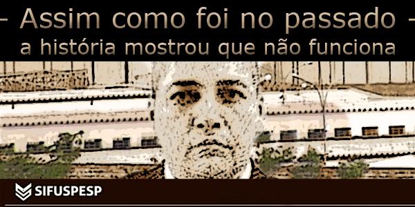 """arte sobre foto do penitenciarista Diorgeres da Assis Victório sob o texto """"Assim como foi no passado, a história mostrou que não funciona""""."""