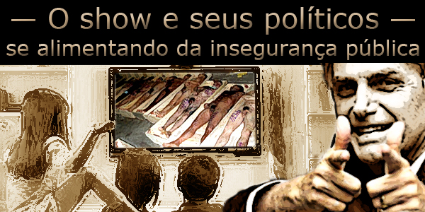 Arte sobre foto do presidente Jair Bolsonaro com uma família assistindo a uma cena de massacre na televisão.
