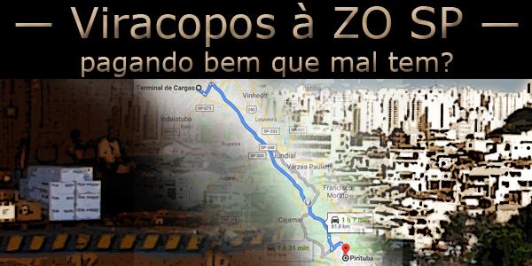 Fotomontagem tendo ao centro uma estrada, à esquerda uma doca de descarga, à direita a cidade de São Paulo.