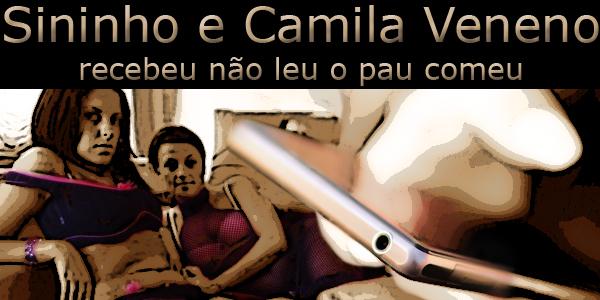 """Fotomontagem de duas garotas olhando uma outra mexendo no celular sob a frase """"Sininho e Camila Veneno, recebeu não leu o pau comeu"""","""