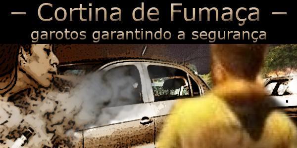 """Fotomontagem onde uma mulher solta pela boca fumaça ocultando parcialmente um carro. Acima a frase """"Cortina de Fumaça, garotos garantindo a segurança""""."""