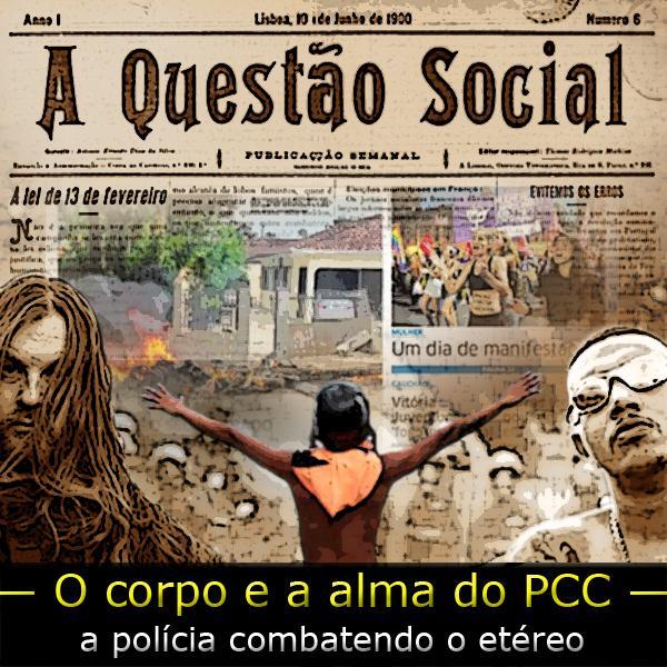 """Fotomontagem de um insurgente tendo ao fundo recorte de jornais e a frase """"A questão social e o corpo político"""""""