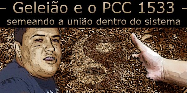 Fotomontagem com o PCC Geleião e uma mão semeando a sigla da facção PCC.