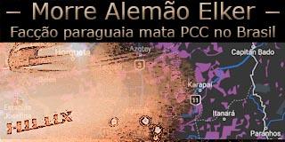 """Fotomontagem com veículo no qual o PCC Alemão Elker foi morto e um mata do local sob a frase """"facção paraguaia mata PCC no Brasil""""."""
