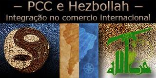 Montagem com os símbolos da facção Primeiro Comando da Capital e do grupo terrorista Jezbollah com o mapa da América do Sul ao fundo.
