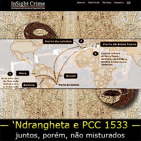 Mapa mundi do tráfico internacional de drogas tendo ao fundo o símbolo da facção PCC Primeiro Comando da Capital.