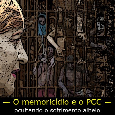 """Foto da pesquisadora Giselle Beiguelman tendo ao fundo cela de carceragem com presos amotinados sob a frase """"O memoricidio e o PCC."""