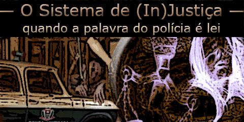 Arte sobre foto de uma viatura veraneio da Polícia Civil, uma carceragem lotada e o símbolo da Justiça.