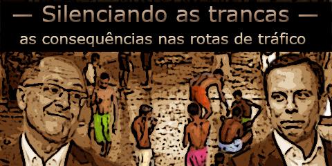 Foto dos governadores Geraldo Alckimin e João Doria tendo ao gundo presos falando ao celular.