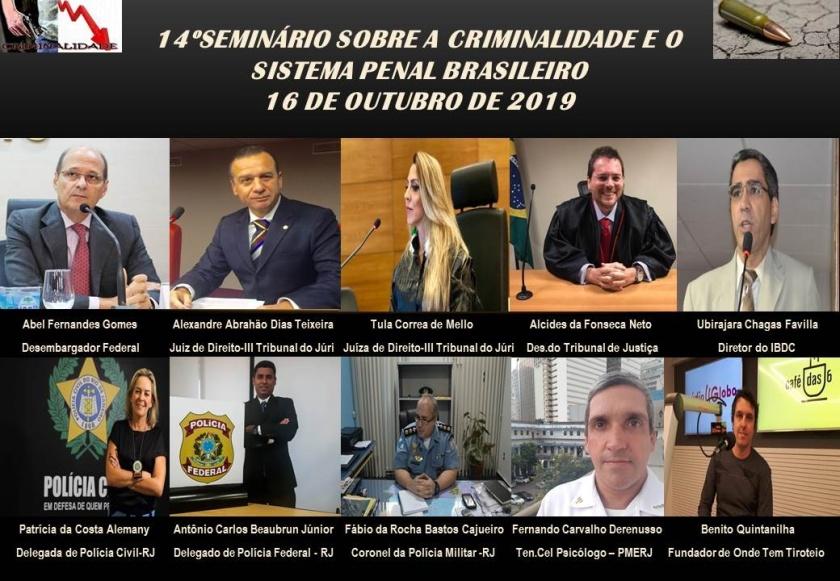 Cartaz do 14° Seminário sobre a criminalidade com a foto dos palestrantes.