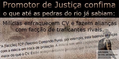 """Homem passa em frente aos símbolos do Primeiro Comando da Capital e dos milicianos sob o título """"Promotor de Justiça confirma""""."""