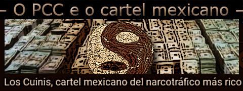 """Arte utilizando dinheiro apreendido e o símbolo da facção PCC 1533 sobre a frase: """"Los Cuinis, cartel mexicano del narcotrafico más rico""""."""
