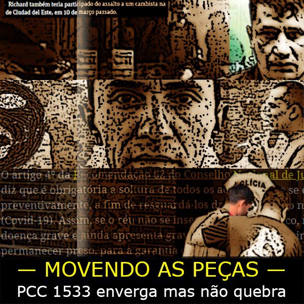 Fotomontagem com criminosos do Primeiro Comando da Capital presos em várias partes do mundo.
