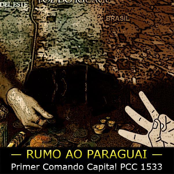 """Arte sobre mapa da tríplice fronteira sobre o texto """"PCC 1533 Rumo ao Paraguai"""""""