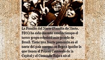 Arte sobre recorte de jornal e a Família do Norte (FDN)