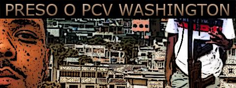 Arte sobre foto do PCV Washington Damásio da Silva com a comunidade ao fundo.