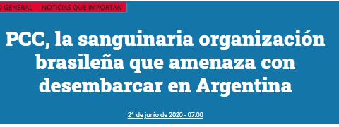 manchete de jornal argentino pcc