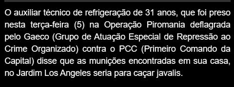 Cópia de trecho de jornal sobre operação Piromania do GAECO