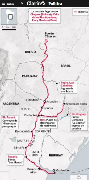 Rota fluvial usada pelo Primeiro Comando da Capital ligando a Bolívia, o Paraguai, o porto de Santos, até a Europa e África